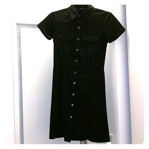Theory Black Button Down Shirt Dress